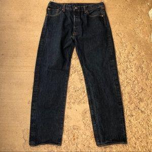 Levi's front button dark wash original fit jeans